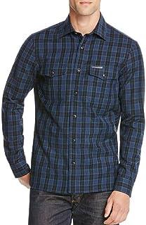 5ba6ba62aab BURBERRY Men's Denton Check L/S Wool Blend Sport Shirt in Bright Navy