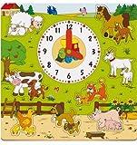 Woodyland Puzzle u. Steckpuzzle Reloj 9 PC Animales Granja Caballo Vaca Oveja Cabra Cerdo