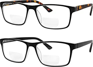 Yogo Vision Bifocal Reading Glasses for Men and Women, Rectangle MultiFocal Readers with Spring Hinges, Retro Design