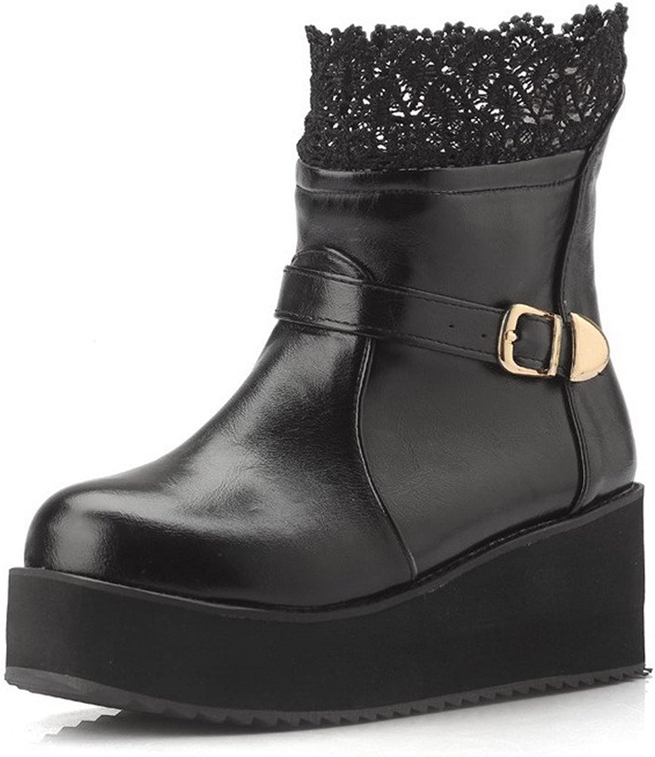 AllhqFashion Women's Solid Mid-top Blend Materials Round Closed Toe Boots