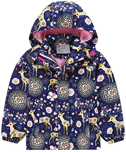 Hotmiss Girls Rain Jacket – Waterproof Reflective Jacket for Girls with Hood,Best for Rain School Day,Hiking and Camping (Navy Reindeer, 6)