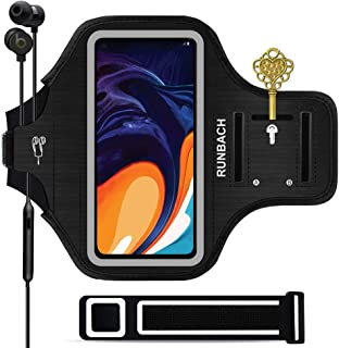 RUNBACH Running Armband for Samsung Galaxy A50/ A30/A20/A10E/A10/A9/A9 Pro,Sweatproof Running Exercise Gym Bag with Fingerprint Touch/Key Holder and Card Slot for Samsung Phones