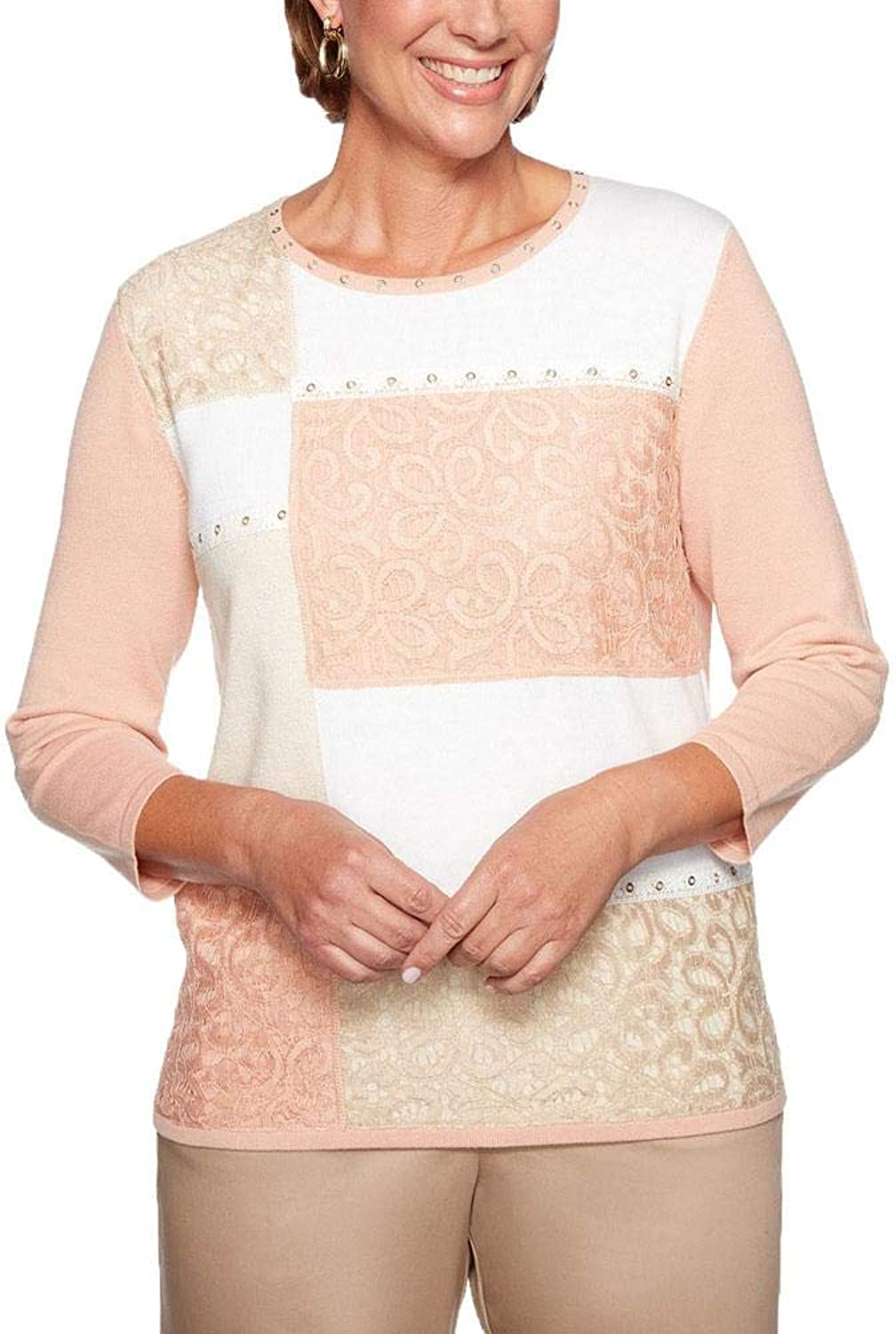 Alfred Dunner Good to Go color Block Lace Top