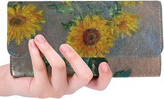Unique Custom Monet Bouquet Of Sunflowers Vase On Table Women Trifold Wallet Long Purse Credit Card Holder Case Handbag