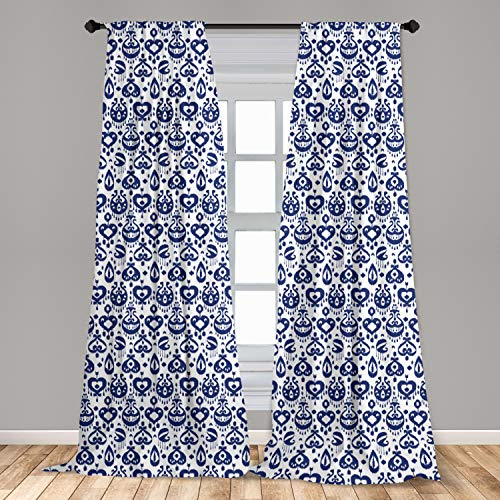 """Ambesonne Navy Blue Window Curtains, Traditional Ikat Pattern Retro Style Composition Damask Inspired, Lightweight Decorative Panels Set of 2 with Rod Pocket, 56"""" x 63"""", White Blue"""
