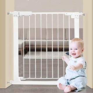 Fairy Baby White Extra Wide or Narrow Baby Gate Pressure Mounted Pet Gate Walk Thru Child Safety Gate with Extensions(25.59