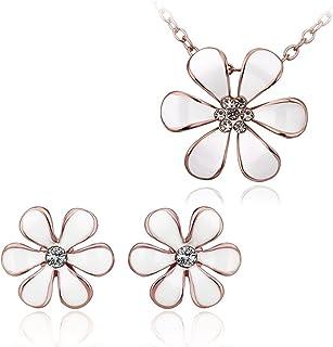 NYKKOLA - Set di gioielli da donna con ciondolo a forma di girasole, in oro rosa 18 k placcato oro rosa