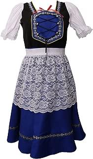 女性 ダーンドル オクトーバーフェスト 衣装 ドイツ メイド 派手な ドレス+エプロン 快適 青 全4サイズ - L