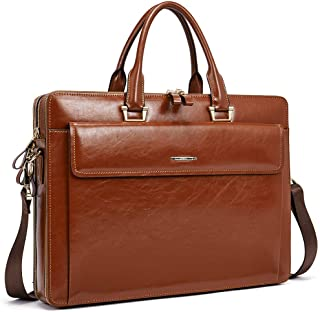 "Women Oil Wax Leather Briefcases Slim Large Business 15.6"" Laptop Vintage Shoulder Bag for Men brown"