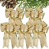 VINFUTUR 5pcs Lazos de Navidad Grandes Lazos de Cinta para Árbol de Navidad Adornos Navideños para Decoración de Casa Regalos Colgantes Navideños 16 * 22.5cm(Kit Dorado)