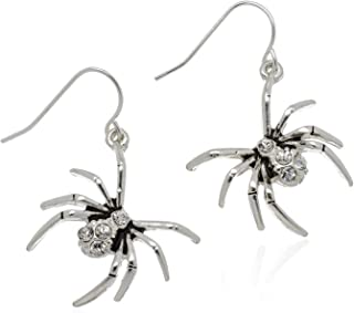 PammyJ Spider Jewelry - Silvertone and Black Spider Drop Earrings