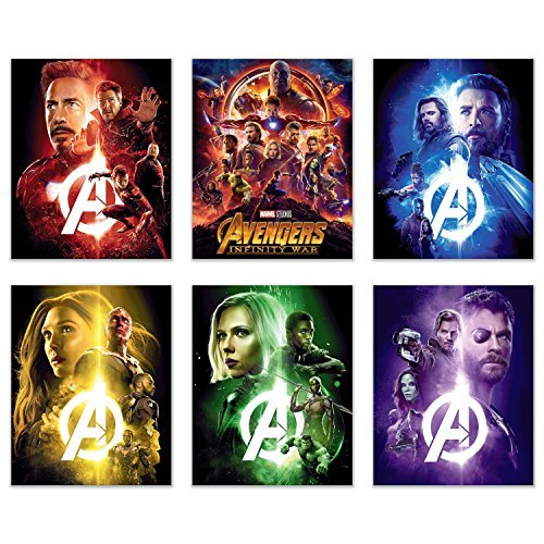 Avengers Infinity War Movie Poster Prints 8x10 - Set of 6 Wall Art Photos