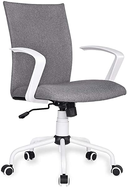 Amolife Home Office Desk Chair Ergonomic Computer Chair With Removable Arms And Wheels Mid Back Cloth Morden Heather Grey