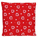 Cojín de semillas 12x12cm (rojo con corazones)   Saco térmico   Pequeña almohada térmica   Pepitas de uva