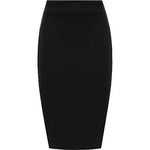 33d4aeec68 WearAll Womens Plus Slit Back Elasticated Midi Skirt Office Formal Plain  Basic New 12-26