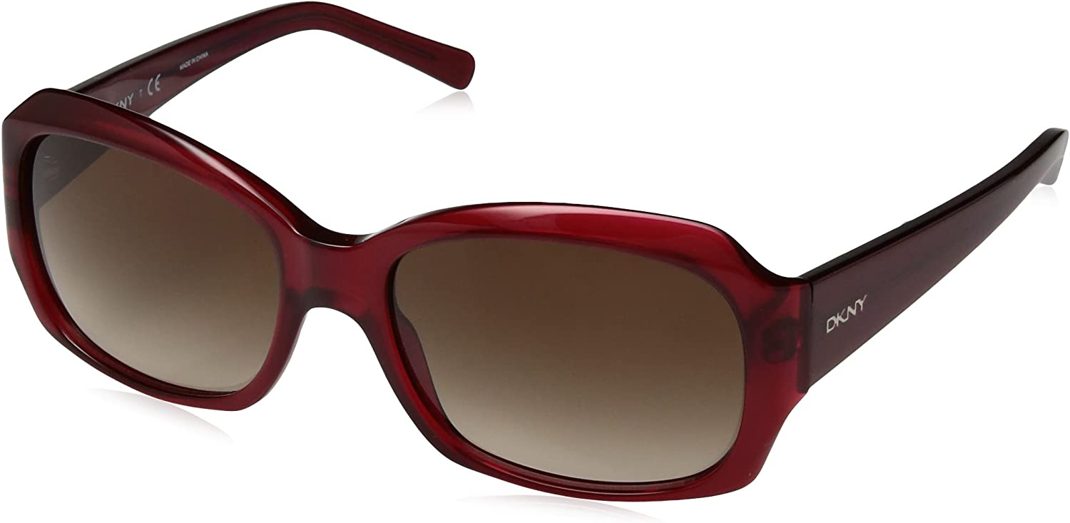 DKNY Women's Plastic Woman Sunglass Rectangular, BURGUNDY 55 mm