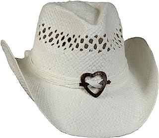 070407670f056 Saddleback Hats Vented Straw Cowboy Hat w Wood Heart Band –Shapeable Cowgirl  Western