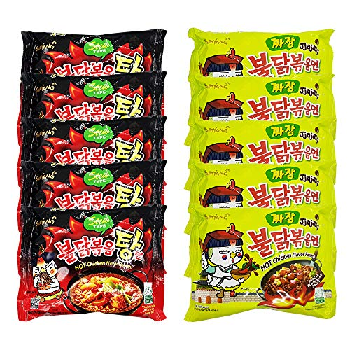 10x Samyang Buldak Ramen Instant Nudeln - Fire Noodle Set mit Hot Chicken Flavour - 5x Jjajang & 5x Stew Type