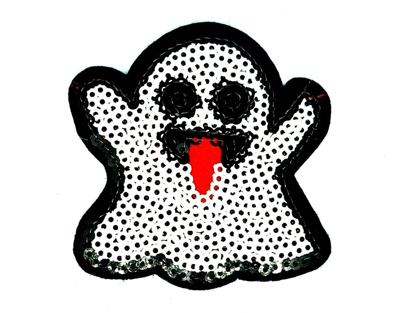PP Patch Cute Ghost Boo Happy Halloween Emoji Sequins Glitter Twinkling Sparkling Cartoon Patch for Bags Jacket T-Shirt Embroidered Sign Badge Costume DIY Applique Iron on Patch