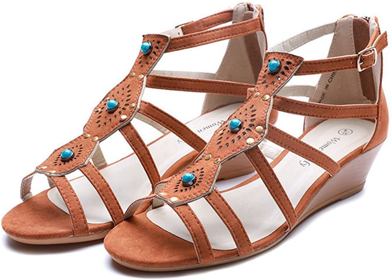 GIY Women's Plear Wedge Platform Sandals Open Toe Strappy Gladiator Slip On Mid Heel shoes