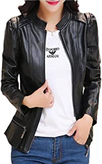 Women's Stand Collar Zipper Leather Jacket Coat Long Sleeve Moto Jackets Outwear with Pockets
