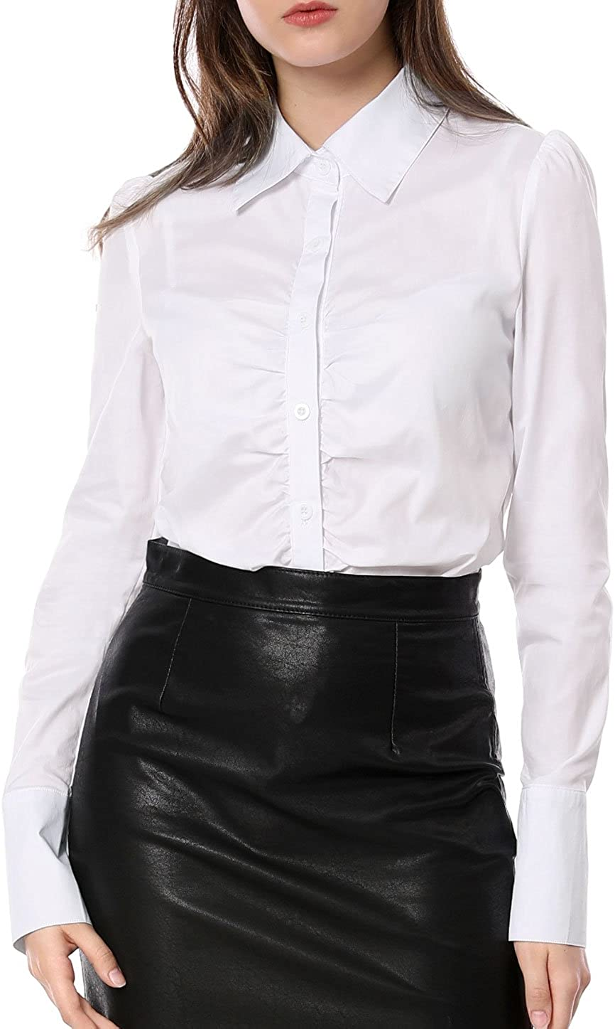 Allegra K Women's Long Sleeve White Office Shirt Button Down Work Ruched Front Tops