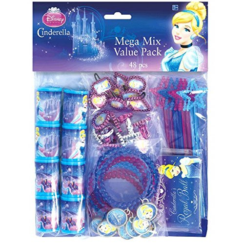 Disney Cinderella Assorted Birthday Party Favour Value Pack (48 Pack), Multi Color.