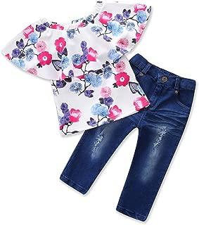 Weixinbuy Kids Baby Girls Outfits Off Shoulder Floral T-Shirt Tops + Denim Pants Trouser Clothes Set