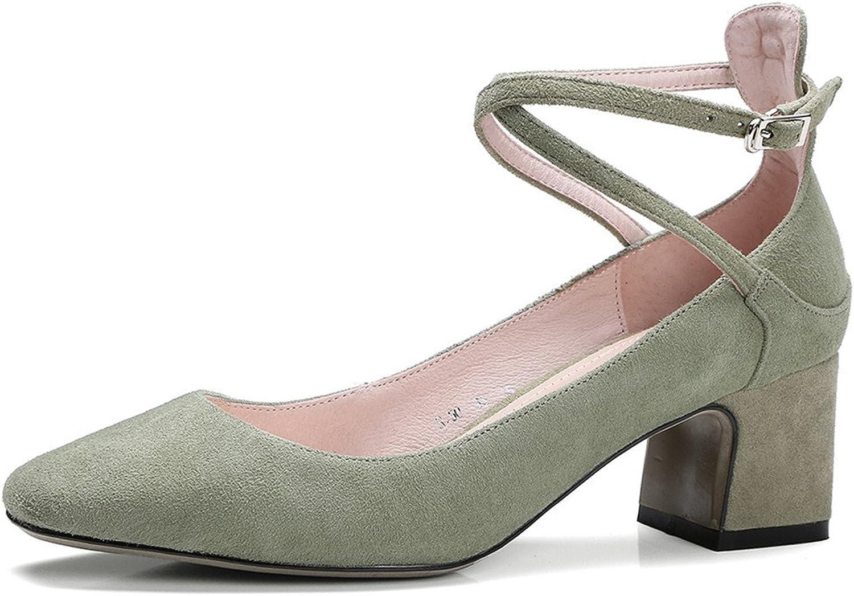 Nine Seven Genuine Leather Women's Square Toe Chunky Heel Handmade Low Heels