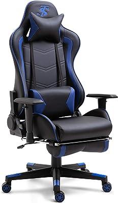 TIANSHU ゲーミングチェア,ゲーミングチェア オットマン リクライニング 肘掛け付き 多機能 ゲーム用チェア パソコンチェア ハイバック ヘッドレスト 腰痛対策 調節可能ランバーサポート(青)
