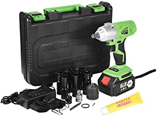 """Electric Cordless Impact Wrench1/2"""" & 280 N.M Torque, Portable Car Impact Wrench Kit with Chuck Head, Impact Sockets & Dual Head Drill and Carry Case Tire Repair Tools by Mostbest"""