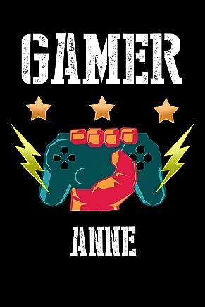 Gamer Anne: Kariertes Notizbuch mit 5x5 Karomuster für deinen personalisierten Vornamen