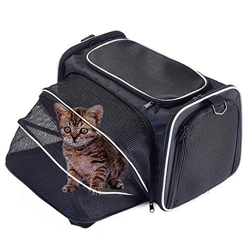 Bolso transportín expandible y plegable con laterales suaves para perros, gatos y otros animales, Tejido Oxford, negro, S Hold pet up to 12 lbs