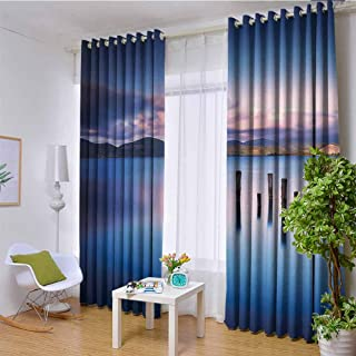 hengshu Apartment Decor Shading Insulated Curtain Wooden Pier Tops Remain in Lake with Sunset Mirror Image Out Different Perspectives for Living Room or Bedroom W108 x L108 Inch Royal Blue