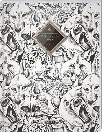 """TULPE Kariertes Notizbuch A4 """"C103 Wilde Tiere"""" (140+ Seiten, Vintage Softcover, Doppelrand, Seitenzahlen, Register - Dickes Notizheft, Matheheft, ... Schulheft, Tagebuch, Kariertes Heft Nr 26)"""