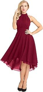 Women's Knee Length Country Bridesmaid Dresses Western Wedding Guest Asymmetrical High Low Chiffon Dress