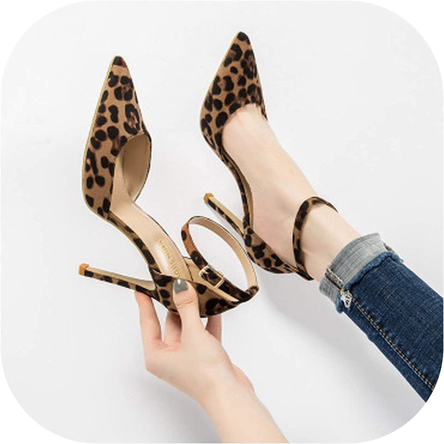 Leopard Women shoes High Heels Office Pumps shoes Pointed Toe Luxury Singles shoes