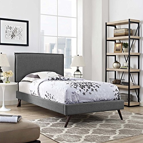 Modway Amaris Upholstered Fabric Platform Bed Frame with Twin Headboard and Round Tapered Legs, Gray