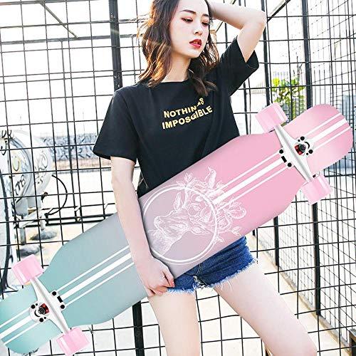 HUADUO Maple Longboard Skateboard Jungen und Mädchen Brush Street Dance Board Anfänger Adult Youth Skateboard Sports Board-Farbe-K