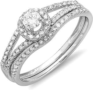 Dazzlingrock Collection 0.45 Carat (ctw) 14K Gold Round Diamond Ladies Bridal Halo Style Engagement Ring Set 1/2 CT