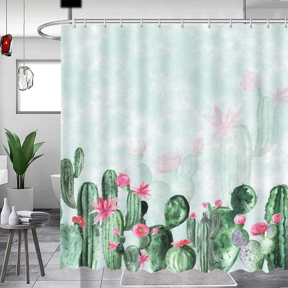 MEHOFOND Cactus Shower Curtain Watercolor Lime Green Cactus Pale Pink Flower Bathroom Fabric Shower Curtain Decor 72x72 Inches