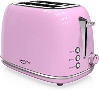 2-Slice Toasters Stainless Steel Retro Toaster with Extra Wide Slots (Pink)