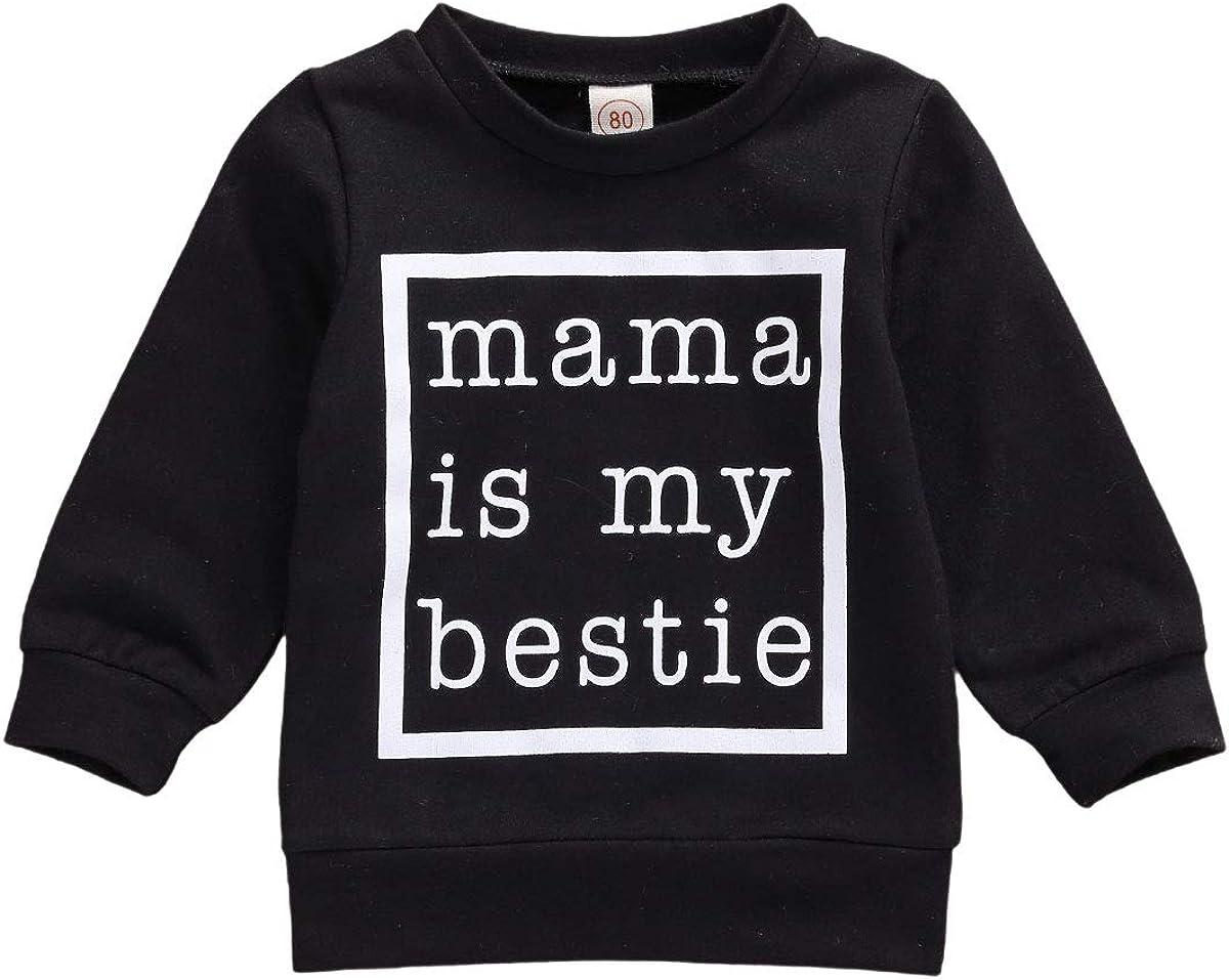 DuAnyozu Baby Boy Girl Crewneck Sweatshirt Mama is My Bestie Long Sleeve Pullover Sweater Shirt Casual Fall Clothes