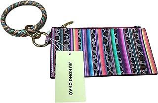 PU Wallet Bracelets Key Ring, Slim Cash and Card Wallet Zipper Key Bag Double-sided Printing (Serape Leopard)