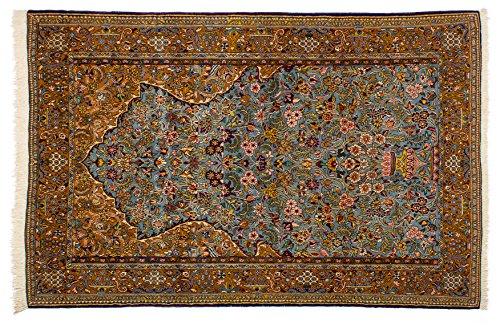 Lifetex.eu Hochwertiger Orientteppich Ghom-Muster (ca. 145x220 cm) Klassisch handgeknüpft Schurwolle (Korkwolle) Braun