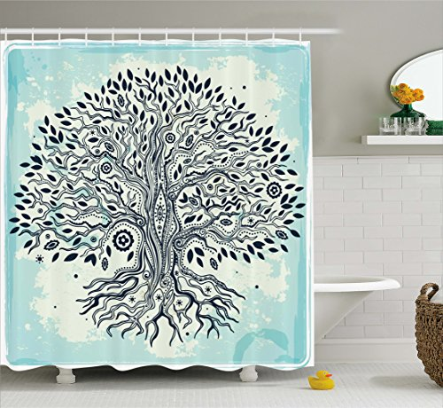 Abstract Art Bathroom Shower Curtain with Trees Decoration Tree of Life Chinese Bonsai Roots Bohemian Hippie Evil Eye Beads for Home Decor Polyester Fabric Aqua Black Beige