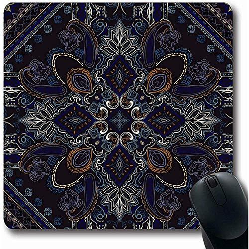 Mousepads Funky Bloemen SierPaisley Patroon Halsdoek Vintage Bandana Boho Sjaal Boheemse Voor Oblong Vorm 18X22Cm Anti-lip Gaming Muismat