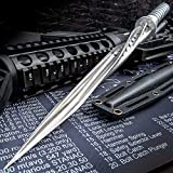K EXCLUSIVE Grey Titanium Spiral Dagger with Sheath - Stainless Steel Construction, Quad-Edged Blade, Hidden Compartment - Length 16 1/2'