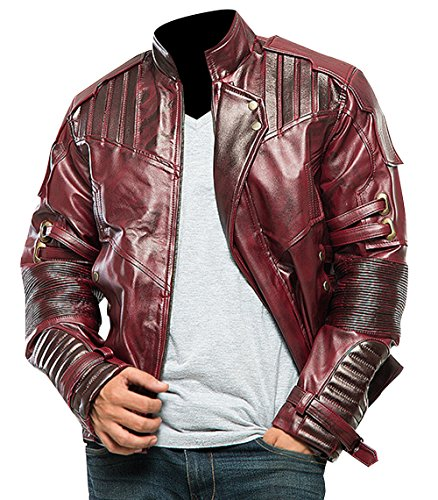 Fashion_First Guardians of Galaxy 2 Star Lord Chris Pratt Peter Quill - Chaqueta y pantalones de piel granate para hombre