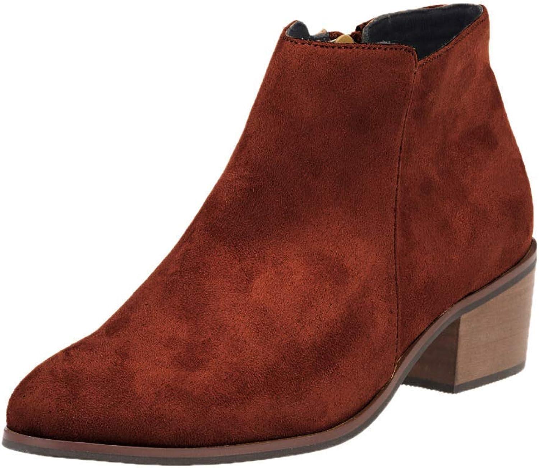 Damen Leder High-Heels Stiefeletten Retro Casual Stiefel (Farbe   1, Größe   39EU)